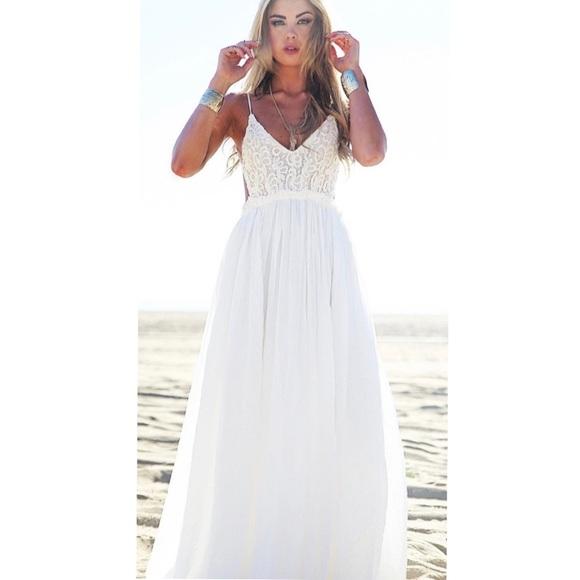 Dresses & Skirts - White Open Back Crochet Maxi Dress